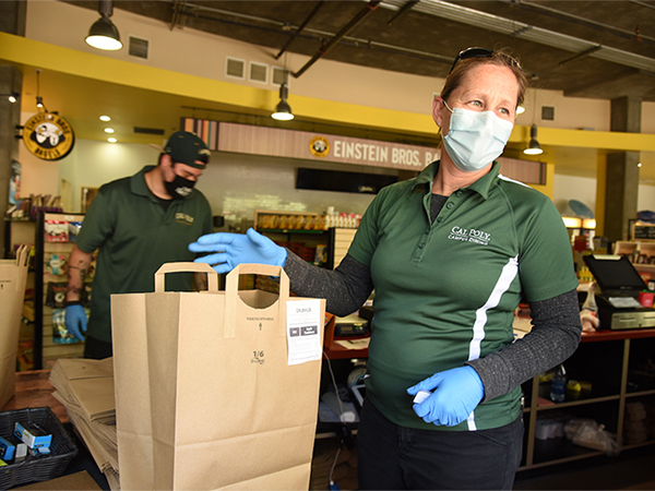 Cal Poly Dining Employee Wearing Covid-19 Protective Equipment