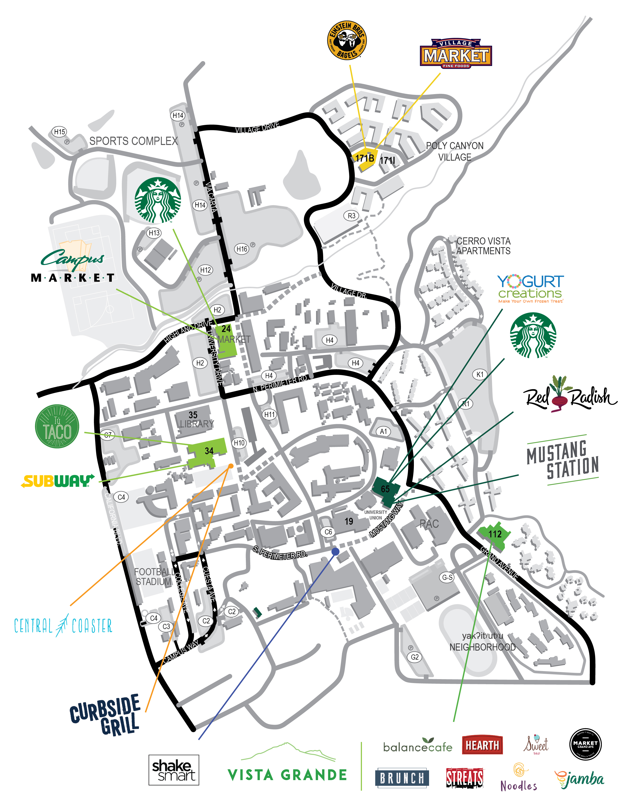 Map of Campus Dining locations at Cal Poly